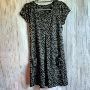 Enfocus Studio Grey and Black Zebra Print Dress